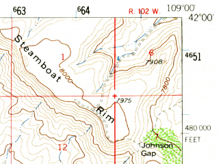Reduced fragment of topographic map en--usgs--063k--051590--(1958)--N042-00_W109-15--N041-45_W109-00