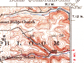 Reduced fragment of topographic map en--usgs--063k--051591--(1933)--N043-30_W090-45--N043-15_W090-30; towns and cities Boaz