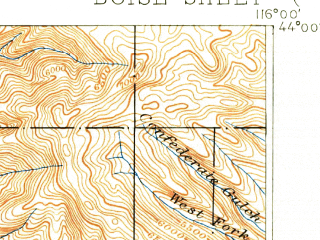 Reduced fragment of topographic map en--usgs--063k--051606--(1897)--N043-45_W116-15--N043-30_W116-00; towns and cities Boise