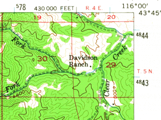 Reduced fragment of topographic map en--usgs--063k--051606--(1954)--N043-45_W116-15--N043-30_W116-00; towns and cities Boise