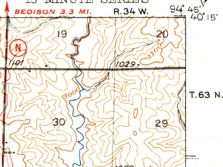 Reduced fragment of topographic map en--usgs--063k--051608--(1945)--N040-15_W095-00--N040-00_W094-45; towns and cities Rosendale, Barnard, Bolckow