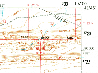 Reduced fragment of topographic map en--usgs--063k--051614--(1956)--N041-45_W107-15--N041-30_W107-00