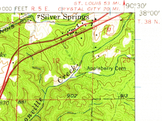Reduced fragment of topographic map en--usgs--063k--051626--(1958)--N038-00_W090-45--N037-45_W090-30; towns and cities Desloge, Elvins, Flat River