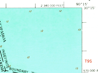 Reduced fragment of topographic map en--usgs--063k--051630--(1969)--N030-15_W090-30--N030-00_W090-15; towns and cities Kenner, Laplace, Norco