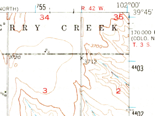 Reduced fragment of topographic map en--usgs--063k--051633--(1950)--N039-45_W102-15--N039-30_W102-00 in area of Bony Reservoir