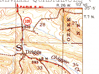 Reduced fragment of topographic map en--usgs--063k--051637--(1934)--N035-15_W094-00--N035-00_W093-45; towns and cities Booneville, Magazine