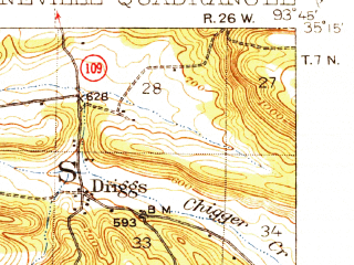 Reduced fragment of topographic map en--usgs--063k--051637--(1939)--N035-15_W094-00--N035-00_W093-45; towns and cities Booneville, Magazine