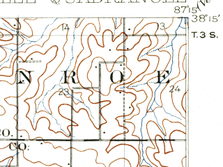 Reduced fragment of topographic map en--usgs--063k--051640--(1902)--N038-15_W087-30--N038-00_W087-15; towns and cities Boonville, Chandler, Elberfeld, Lynnville