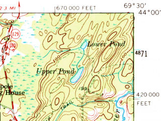 Reduced fragment of topographic map en--usgs--063k--051646--(1957)--N044-00_W069-45--N043-45_W069-30 in area of Linekin Bay, Johns, Boothbay Harbor; towns and cities Boothbay Harbor