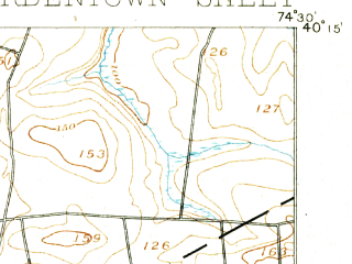 Reduced fragment of topographic map en--usgs--063k--051649--(1893)--N040-15_W074-45--N040-00_W074-30; towns and cities Fort Dix, White Horse, Yardville, Mcguire Afb, Groveville