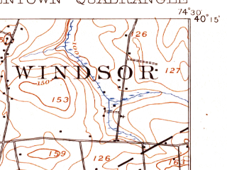 Reduced fragment of topographic map en--usgs--063k--051649--(1906)--N040-15_W074-45--N040-00_W074-30; towns and cities Fort Dix, Yardville, Mcguire Afb, White Horse, Allentown