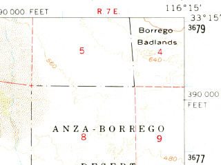 Reduced fragment of topographic map en--usgs--063k--051653--(1959)--N033-15_W116-30--N033-00_W116-15; towns and cities Borrego Springs
