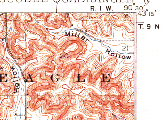 Reduced fragment of topographic map en--usgs--063k--051656--(1933)--N043-15_W090-45--N043-00_W090-30; towns and cities Blue River, Boscobel