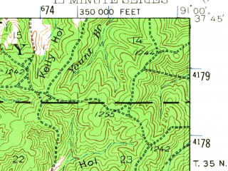 Reduced fragment of topographic map en--usgs--063k--051657--(1943)--N037-45_W091-15--N037-30_W091-00; towns and cities Viburnum