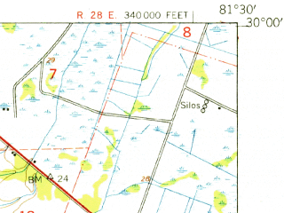 Reduced fragment of topographic map en--usgs--063k--051662--(1949)--N030-00_W081-45--N029-45_W081-30; towns and cities Green Cove Springs