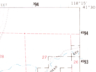 Reduced fragment of topographic map en--usgs--063k--051664--(1961)--N041-30_W118-30--N041-15_W118-15