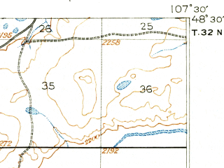Reduced fragment of topographic map en--usgs--063k--051680--(1905)--N048-30_W107-45--N048-15_W107-30 in area of Lake Bowdoin, Dry Lake Unit