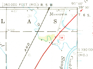Reduced fragment of topographic map en--usgs--063k--051688--(1937)--N039-30_W091-15--N039-15_W091-00; towns and cities Bowling Green, Louisiana, Tarrants