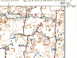 Reduced fragment of topographic map en--usgs--063k--051690--(1923)--N037-00_W086-30--N036-45_W086-15; towns and cities Bowling Green