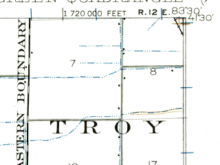 Reduced fragment of topographic map en--usgs--063k--051691--(1901)--N041-30_W083-45--N041-15_W083-30; towns and cities Bowling Green, Haskins, Jerry City, Portage