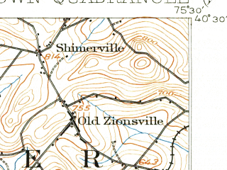 Reduced fragment of topographic map en--usgs--063k--051700--(1902)--N040-30_W075-45--N040-15_W075-30; towns and cities Boyertown, East Greenville, Gilbertsville
