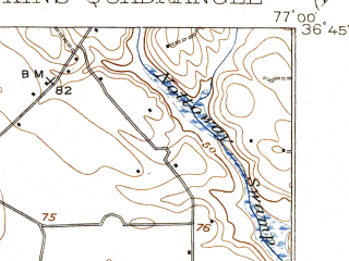 Reduced fragment of topographic map en--usgs--063k--051701--(1920)--N036-45_W077-15--N036-30_W077-00; towns and cities Newsoms, Severn, Boykins
