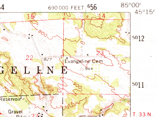 Reduced fragment of topographic map en--usgs--063k--051703--(1961)--N045-15_W085-15--N045-00_W085-00; towns and cities Boyne City, East Jordan, Ellsworth
