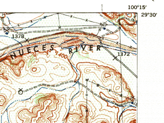 Reduced fragment of topographic map en--usgs--063k--051709--(1944)--N029-30_W100-30--N029-15_W100-15; towns and cities Brackettville