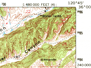 Reduced fragment of topographic map en--usgs--063k--051727--(1961)--N036-00_W121-00--N035-45_W120-45