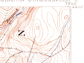 Reduced fragment of topographic map en--usgs--063k--051735--(1902)--N044-00_W073-15--N043-45_W073-00 in area of Lake Dunmore; towns and cities Brandon