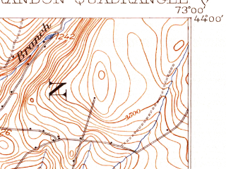 Reduced fragment of topographic map en--usgs--063k--051735--(1904)--N044-00_W073-15--N043-45_W073-00 in area of Lake Dunmore; towns and cities Brandon