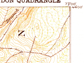 Reduced fragment of topographic map en--usgs--063k--051735--(1920)--N044-00_W073-15--N043-45_W073-00 in area of Lake Dunmore; towns and cities Brandon