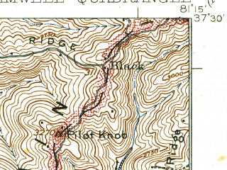 Reduced fragment of topographic map en--usgs--063k--051742--(1925)--N037-30_W081-30--N037-15_W081-15; towns and cities Keystone, Montcalm, Northfork