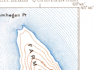 Reduced fragment of topographic map en--usgs--063k--051743--(1923)--N045-45_W070-00--N045-30_W069-45 in area of Brassua Lake