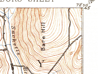 Reduced fragment of topographic map en--usgs--063k--051744--(1893)--N043-00_W072-45--N042-45_W072-30; towns and cities Brattleboro, Newfane, West Brattleboro