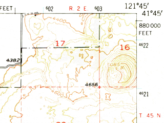Reduced fragment of topographic map en--usgs--063k--051746--(1950)--N041-45_W122-00--N041-30_W121-45