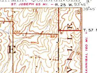 Reduced fragment of topographic map en--usgs--063k--051747--(1924)--N039-45_W094-00--N039-30_W093-45; towns and cities Braymer, Cowgill