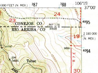 Reduced fragment of topographic map en--usgs--063k--051749--(1955)--N037-00_W106-30--N036-45_W106-15