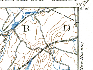 Reduced fragment of topographic map en--usgs--063k--051764--(1893)--N041-15_W073-15--N041-00_W073-00; towns and cities Bridgeport, Milford, Stratford