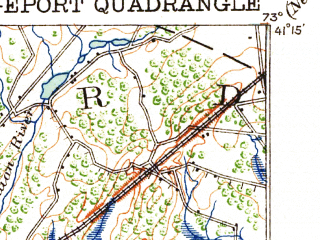 Reduced fragment of topographic map en--usgs--063k--051764--(1920)--N041-15_W073-15--N041-00_W073-00; towns and cities Bridgeport, Milford, Stratford