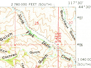 Reduced fragment of topographic map en--usgs--063k--051766--(1964)--N044-30_W117-45--N044-15_W117-30