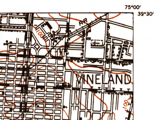Reduced fragment of topographic map en--usgs--063k--051771--(1948)--N039-30_W075-15--N039-15_W075-00; towns and cities Millville, Bridgeton, Fairton, Rosenhayn