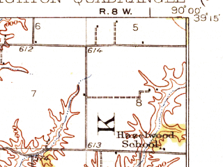 Reduced fragment of topographic map en--usgs--063k--051777--(1928)--N039-15_W090-15--N039-00_W090-00; towns and cities Brighton, Fidelity, Medora