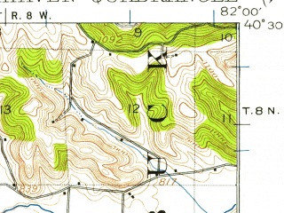 Reduced fragment of topographic map en--usgs--063k--051780--(1913)--N040-30_W082-15--N040-15_W082-00; towns and cities Gann, Nellie, Warsaw