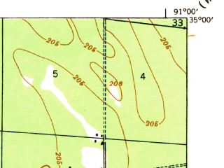 Reduced fragment of topographic map en--usgs--063k--051781--(1940)--N035-00_W091-15--N034-45_W091-00; towns and cities Brinkley, Fargo, Wheatley