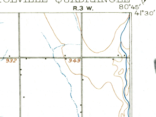 Reduced fragment of topographic map en--usgs--063k--051798--(1907)--N041-30_W081-00--N041-15_W080-45; towns and cities Champion Heights, West Farmington
