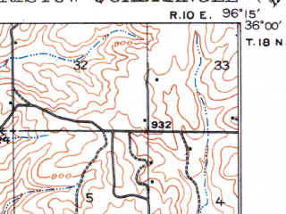 Reduced fragment of topographic map en--usgs--063k--051799--(1916)--N036-00_W096-30--N035-45_W096-15 in area of Lake Heyburn; towns and cities Bristow, Slick