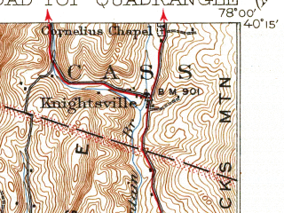 Reduced fragment of topographic map en--usgs--063k--051802--(1933)--N040-15_W078-15--N040-00_W078-00; towns and cities Saltillo, Saxton, Valley-hi