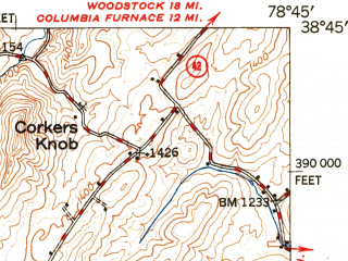 Reduced fragment of topographic map en--usgs--063k--051807--(1950)--N038-45_W079-00--N038-30_W078-45; towns and cities Timberville, Broadway