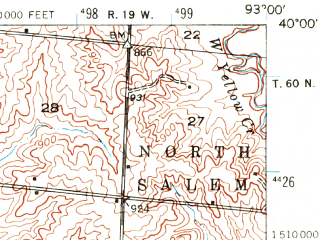 Reduced fragment of topographic map en--usgs--063k--051822--(1946)--N040-00_W093-15--N039-45_W093-00; towns and cities Purdin, Brookfield, Laclede